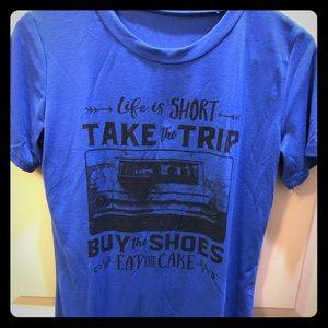 """Take the trip"" blue tee, small"